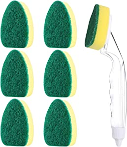 Knemksplanet 1 Dish Wands and 7 Refill Replacement Heads Heavy Duty Dish Wand Sponge for Kitchen Sink Dishes Cleaning Brush