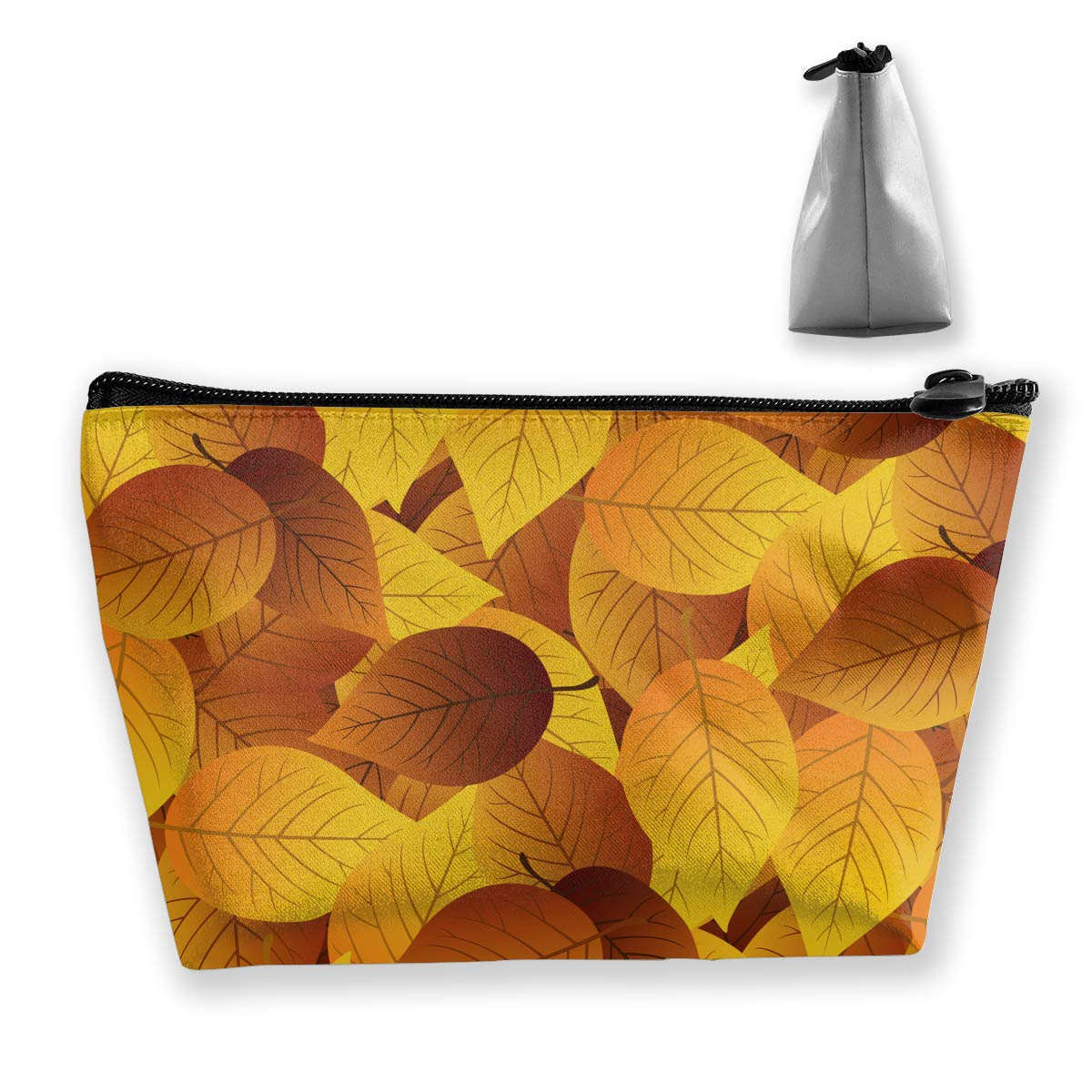 Trapezoid Toiletry Pouch Portable Travel Bag Golden Leaves Zipper Wallet