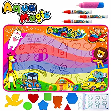 HQQNUO 86*57cm Agua Dibujo Pintura Pizarra Mágica Agua Esteras de Agua Doodle 4 Pen 8 moldes Juguete Educativo, Regalo Ideal para niños