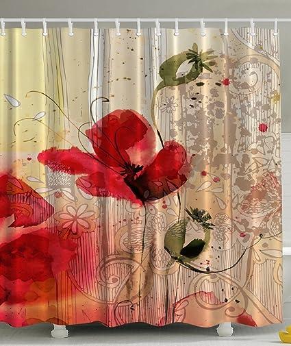 Amazon Red Poppy Flower Beige Floral Fabric Shower Curtain