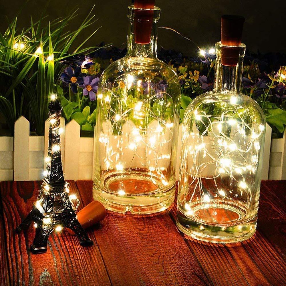 VIPMOON 10pcs llevó las luces de corcho de la botella, 2m ...