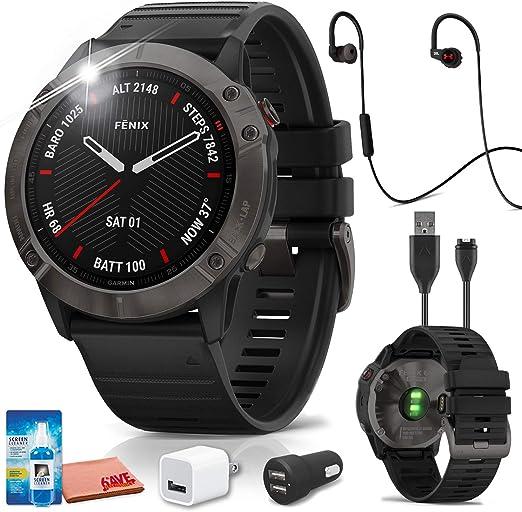 cepillo tienda de comestibles empezar  Amazon.com: Garmin Fenix 6X - Reloj inteligente GPS multideporte (gris) con  auriculares JBL Under Armour Heart-Rate (negro)