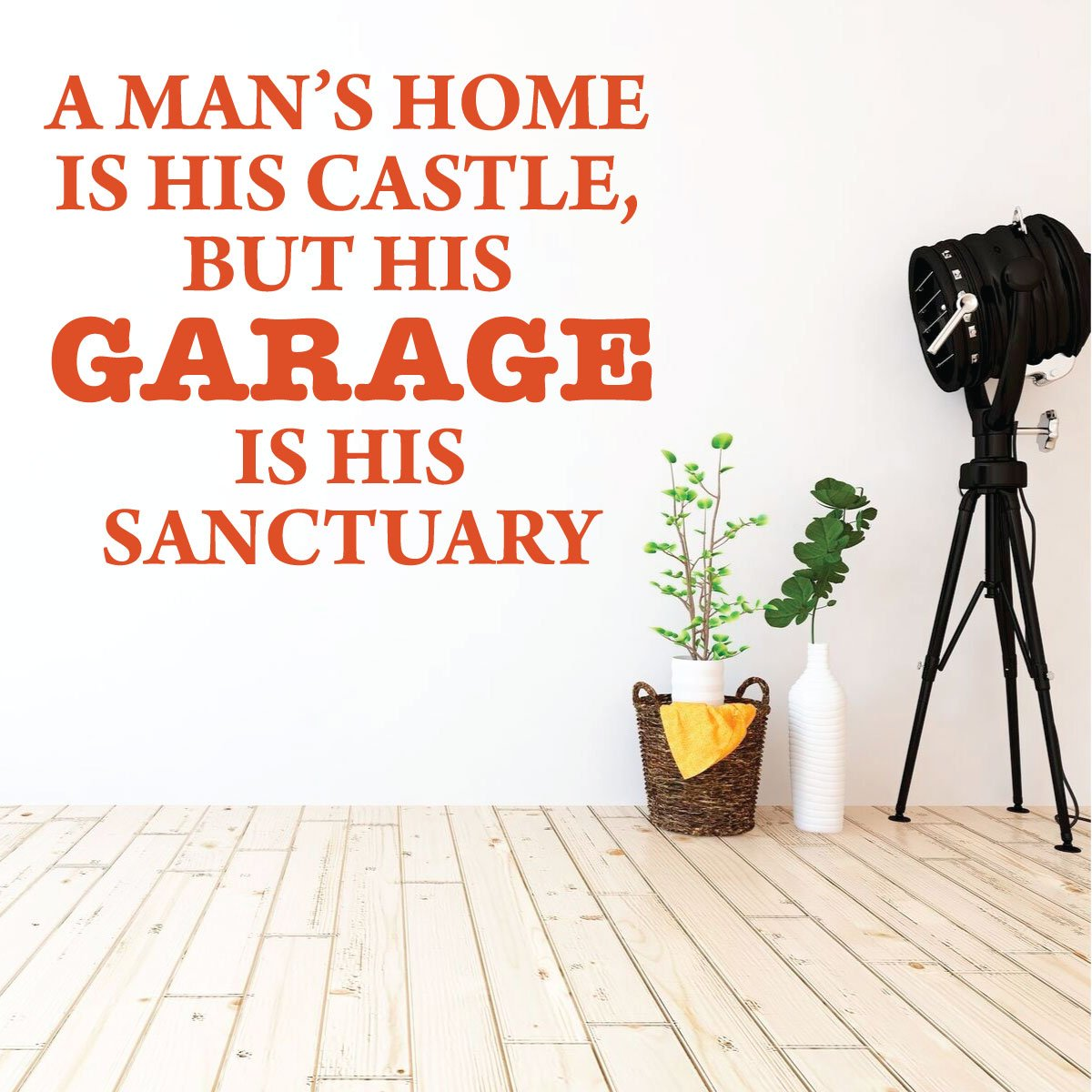 But HIs Garage Is His Sanctuary Game Room Or Man Cave Decor. Garage wall Decal Playroom A Mans Home Is His Castle Vinyl Sticker for Bedroom