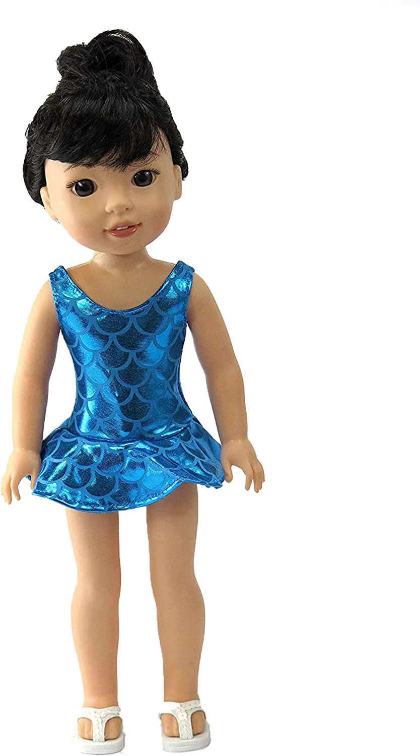 Doll Clothes for 18 inch American Girl Metallic Red White /& Blue Swimsuit