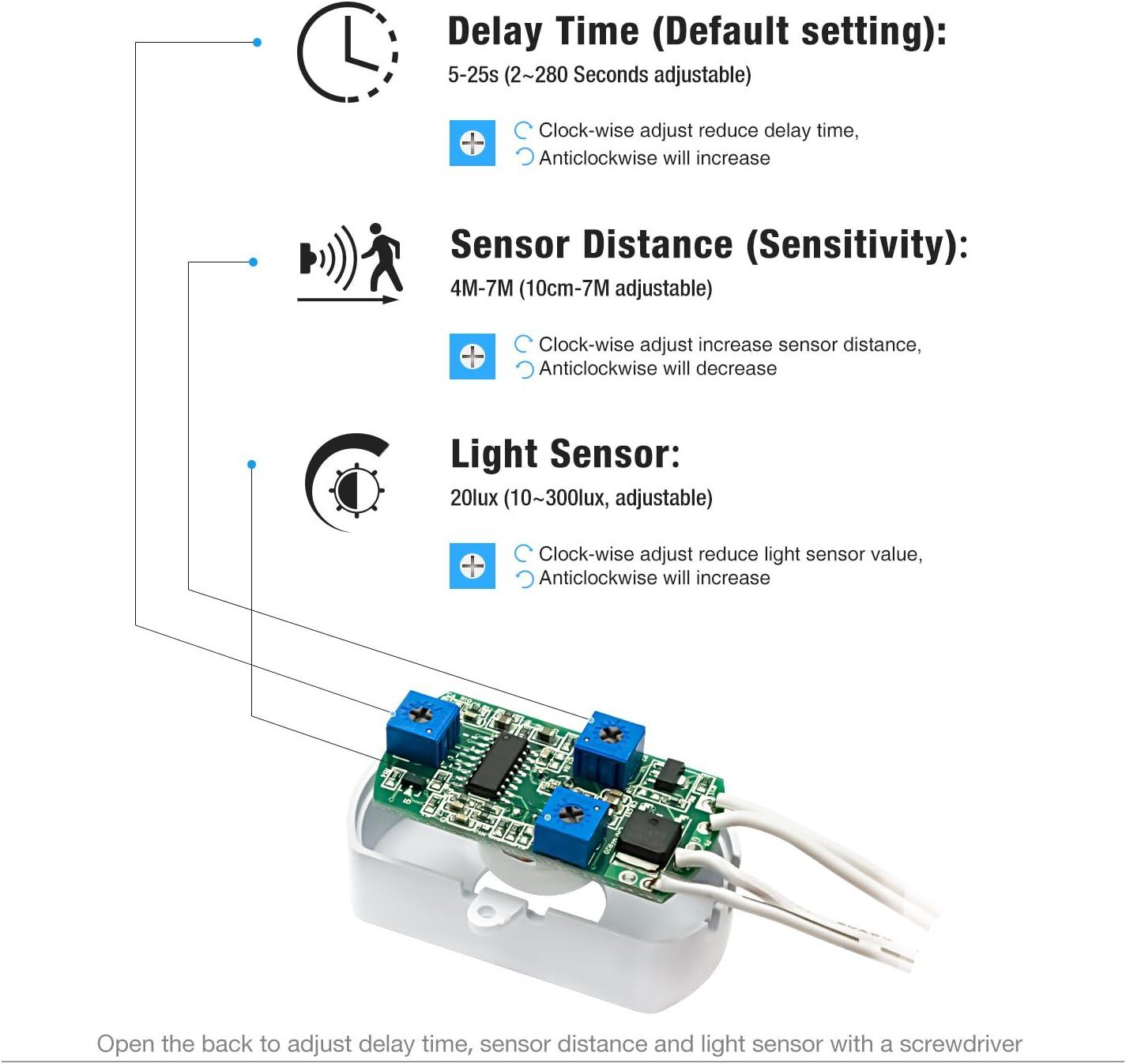 3 A 24 V PIR Sensor de movimiento para interruptor de luz de Sensky SK010 12 V sensibilidad al tiempo y LUX ajustable larga distancia con sensor de luz