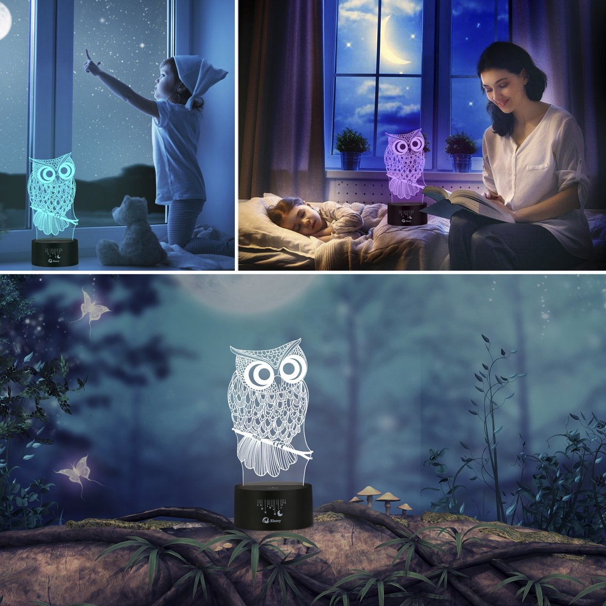 Owl 3D Illusion Lamp, Elstey 7 Color Changing Touch Table Desk LED Night Light Great Kids Gifts Home Decoration by Elstey (Image #6)