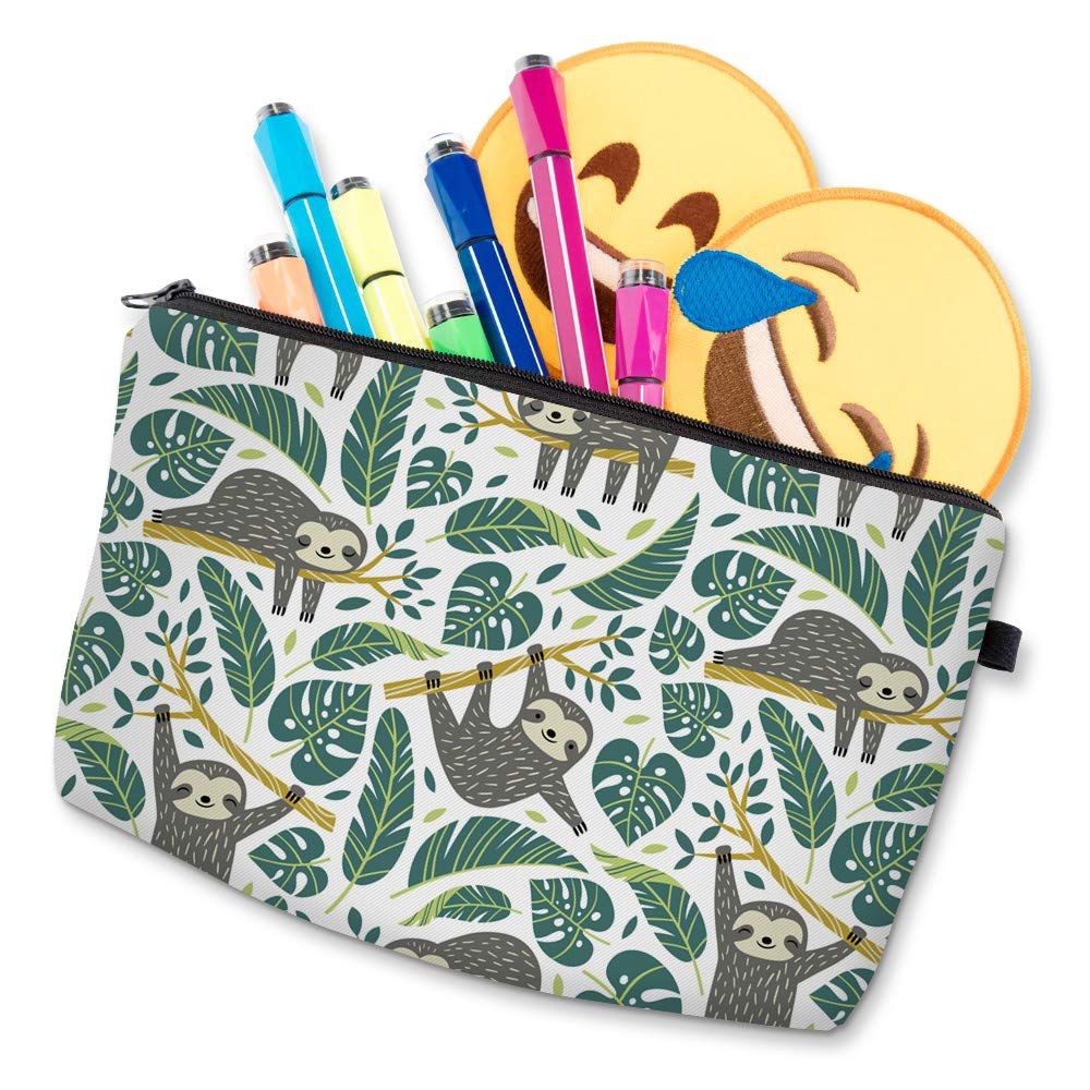 sloth cartoon accessories pouch with markers and emoji patches