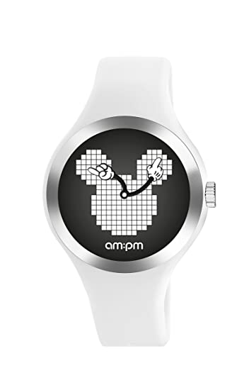Disney Mickey Mouse por AM: PM dp155-u533 - Reloj unisex (correa de silicona), color blanco: Amazon.es: Relojes