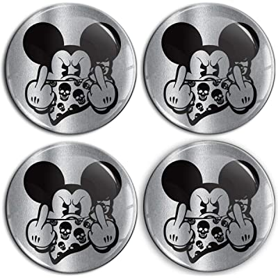 4 x 65mm 3D Domed Car Wheel Centre Rims Mickey Mouse Middle Finger Stickers Decals for Caps Vehicle Auto Tuning Emblem A 9565: Automotive