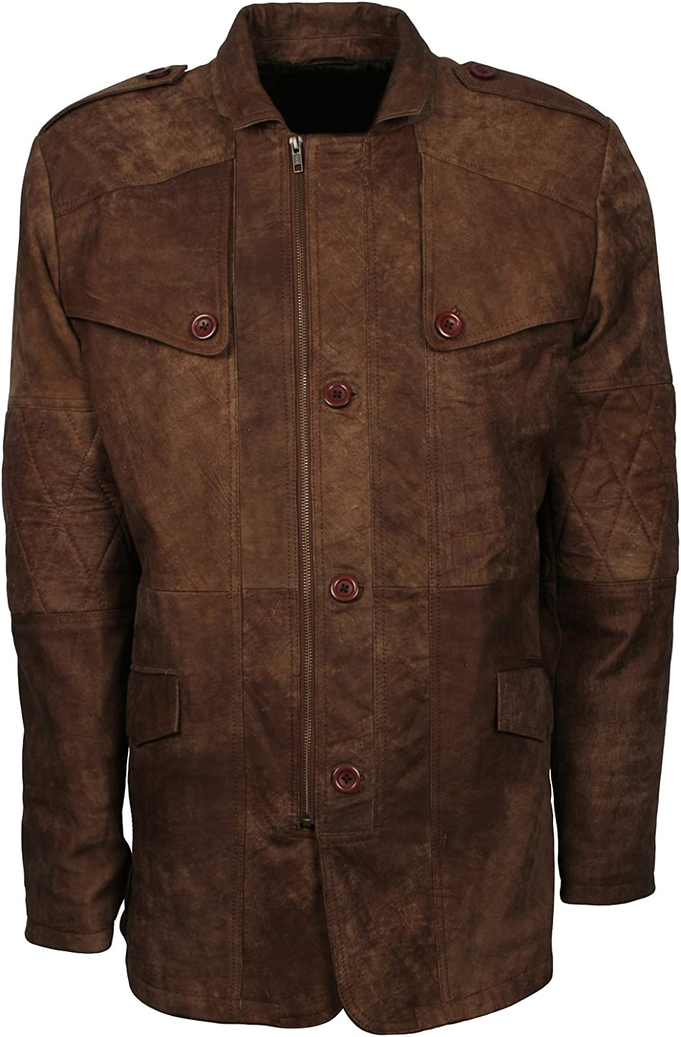 Brown Mens Distressed Long Coat Style Genuine Leather Classic Jacket