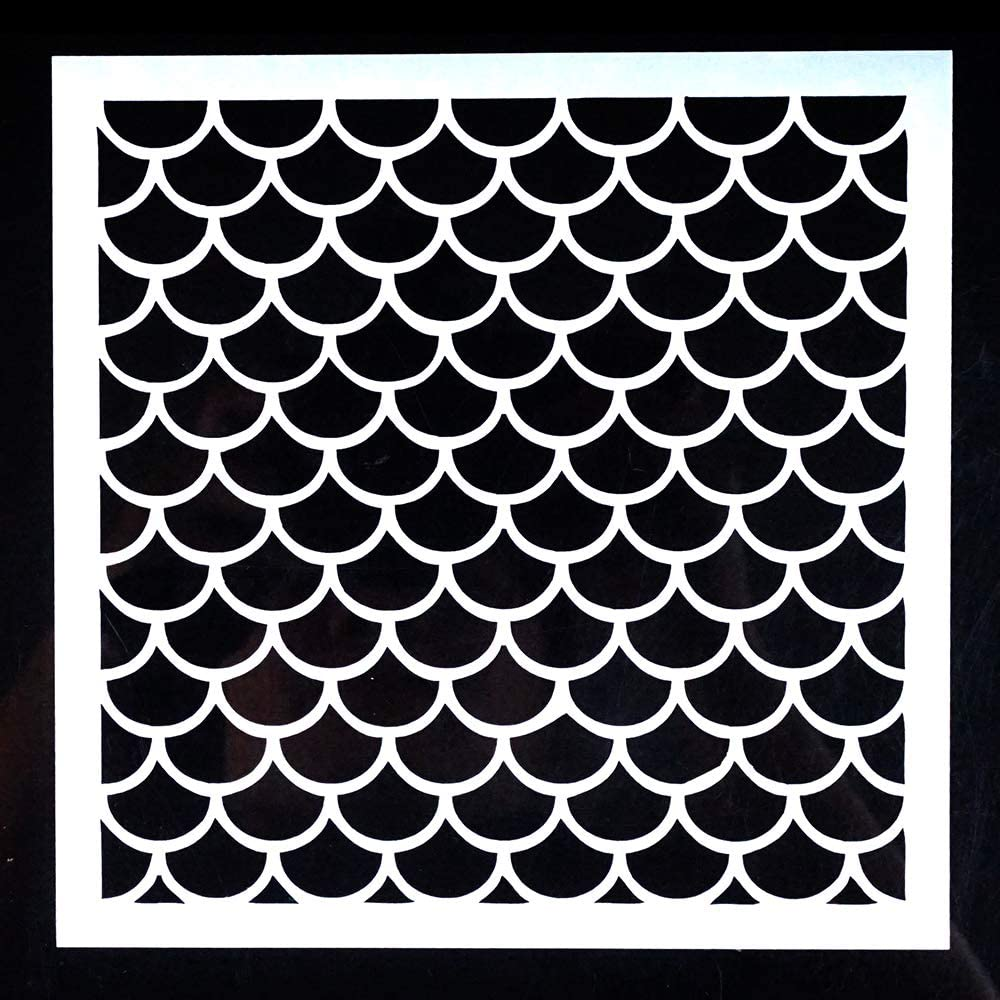 DIY Decorative Fish Scale Stencil Template for Painting on Walls Furniture Crafts 15 by 15 cm