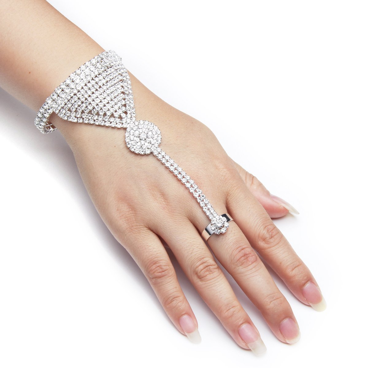 YUXI Silver Wedding Bride Hand Harness Latin Dancer Austria Crystal Bangle Finger Ring Free Size (Style 6)