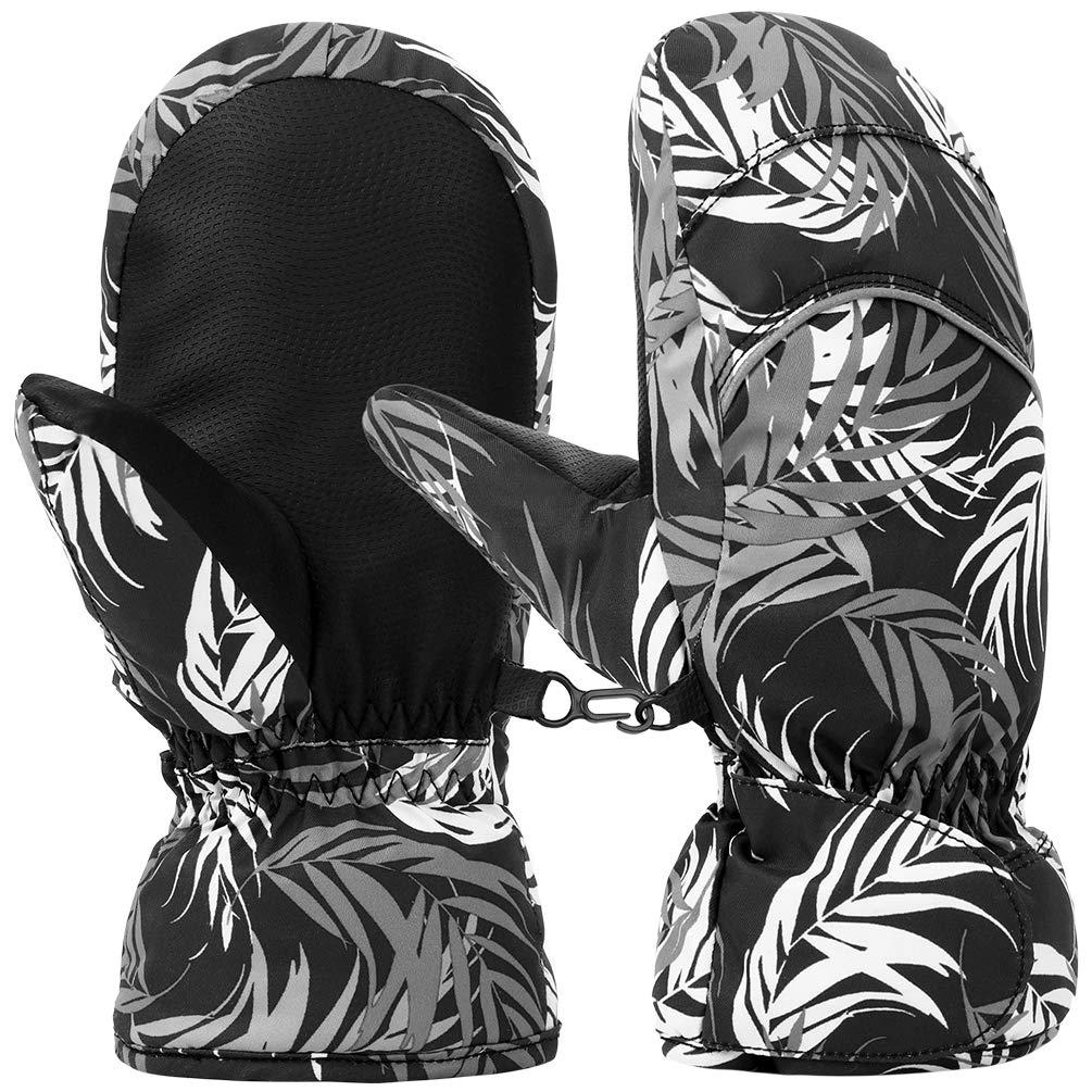 Vbiger Kinder handschuhe ski Handschuhe Warm Winter Handschuhe Anti-Rutsch Sport handschuhe Camo Windproof Skatinghandschuhe Geeignet für Jungen und Mädchen, Schwarz, L (6-7 Jahre alt)