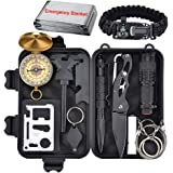 XUANLAN Emergency Survival Kit 13 in 1, Outdoor Survival Gear Tool with Survival Bracelet, Fire Starter, Whistle, Wood Cutter