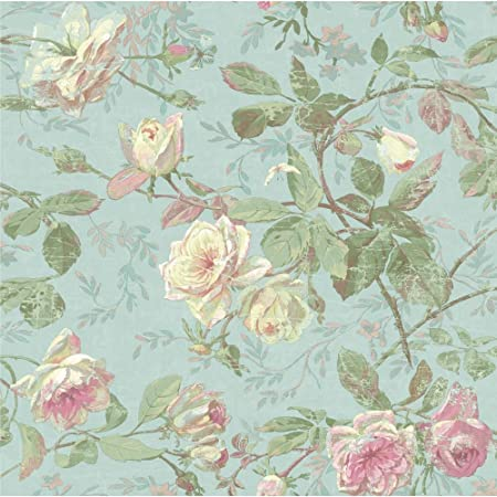 York Wallcoverings Sh5501 Vintage Luxe Floral Wallpaper Pale Blue