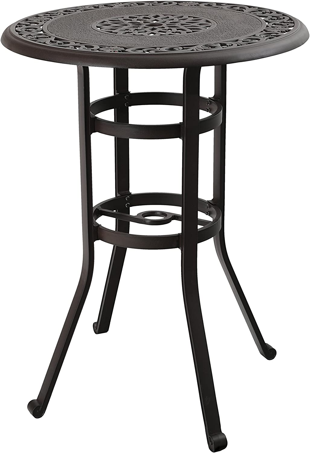 "PHI VILLA 32"" Cast Aluminum Pub Height Bistro Round Table for Oudoor Paito - 41"" Height: Kitchen & Dining"