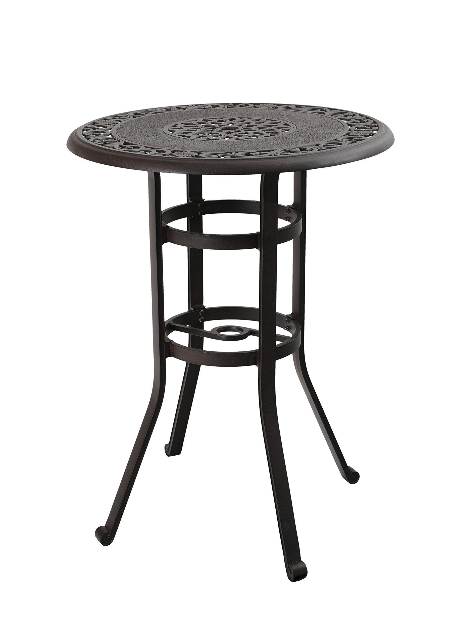 PHI VILLA 32'' Cast Aluminum Pub Height Bistro Round Table for Oudoor Paito - 41'' Height