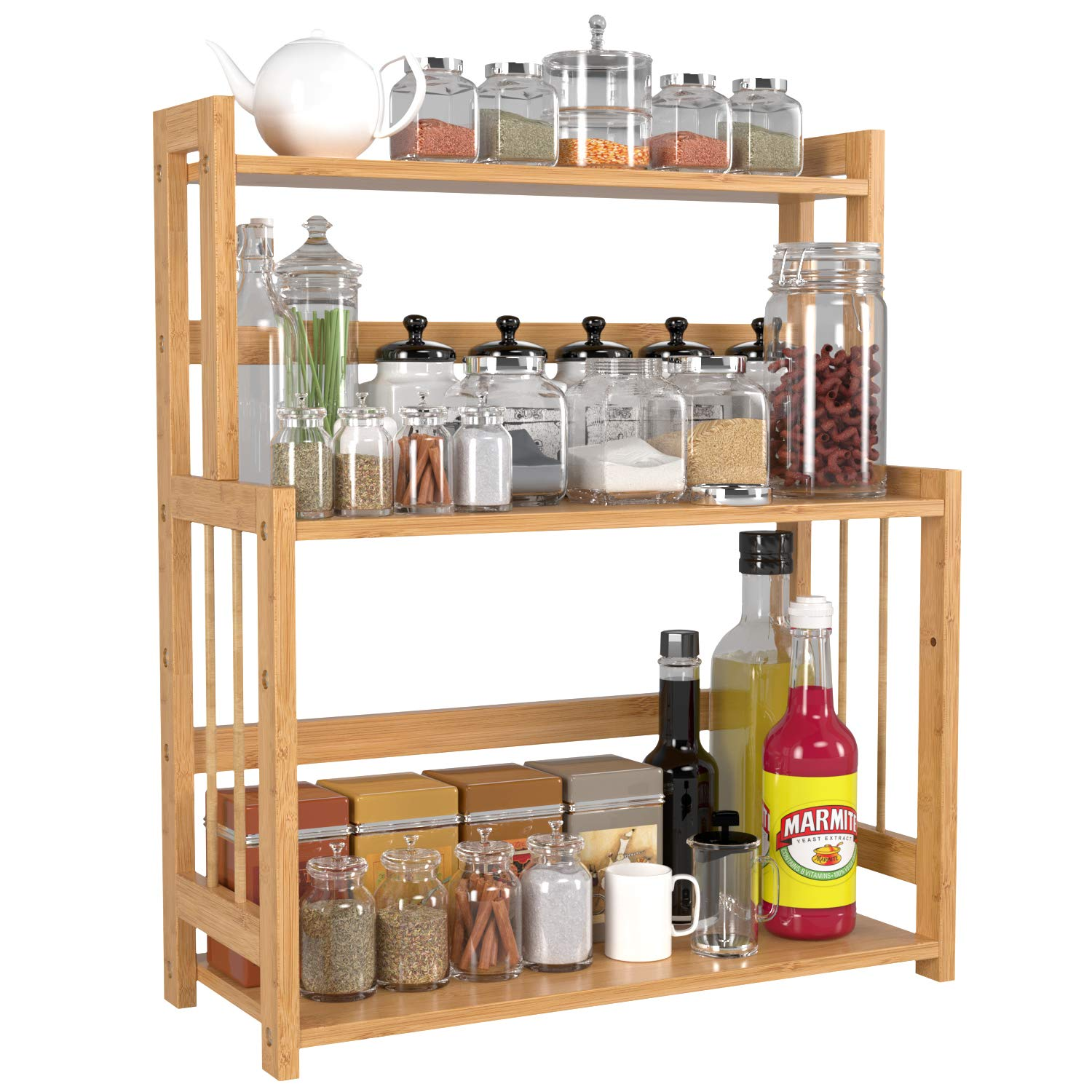 HOMECHO Bamboo Spice Rack Bottle Jars Holder Countertop Storage Organizer Free Standing with 3-Tier Adjustable Slim Shelf for Kitchen Bathroom Bedroom HMC-BA-004 by HOMECHO