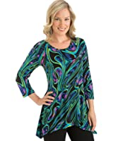 Women's Abstract High Low Hemline 3/4 Sleeves Tunic - Made in the USA