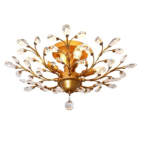 IJ INJUICY K9 Crystal Chandelier Led Ceiling Light Fixtures Living Room Bedroom Restaurant Porch Pendant Lamp (Copper Dia.24.4 Inch) - - Amazon.com