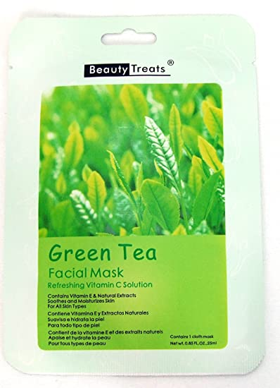 (6 Pack) BEAUTY TREATS Facial Mask Refreshing Vitamin C Solution - Aloe Vera 2 Pack - Isopto Tears 0.5% Dry Eye Drop 15ml 0.5 fl oz Each