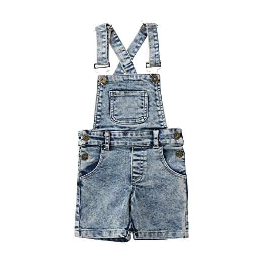 2663cc25e3e5 Baby Little Girls Boys Kids Denim Short Overalls Denim Jumpsuit Boyfriend  Jeans Denim Romper Shortalls (