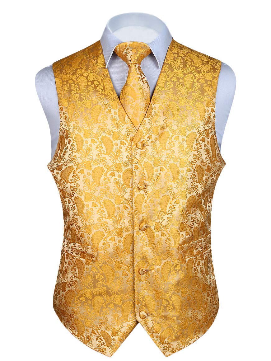 HISDERN 3pc Men's Paisley Floral Jacquard Waistcoat & Necktie and Pocket Square Vest Suit Set Yellow by HISDERN