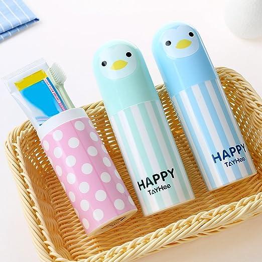 Portacepillos de dientes, portátil, diseño de animales de dibujos animados, funda de viaje de plástico libre de BPA para niños Tamaño libre rosa: Amazon.es: Hogar