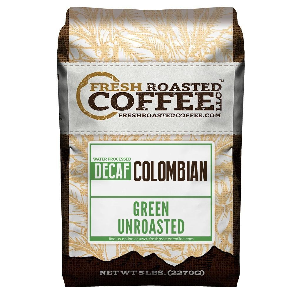 Fresh Roasted Coffee LLC, Green Unroasted Colombian Decaffeinated Coffee Beans, Swiss Water Process, 5 Pound Bag by FRESH ROASTED COFFEE LLC FRESHROASTEDCOFFEE.COM