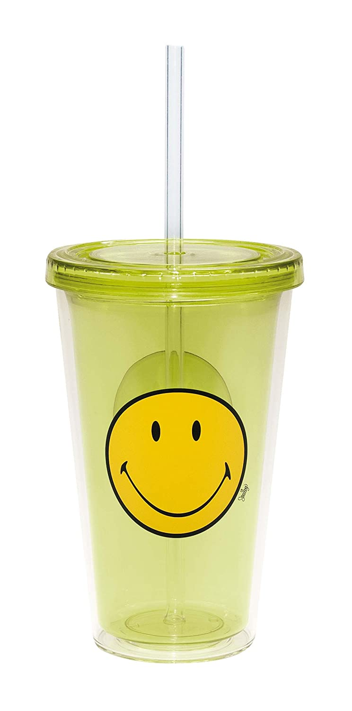 Zak Designs 6187-0851 48 cl Vaso para refrescos con pajita integrada color rosa dise/ño cara sonriente