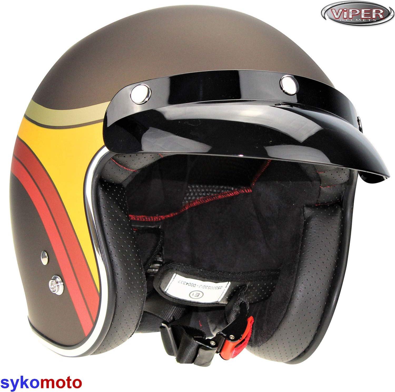 59-60 CM JETHELME MOTORRAD VIPER RS-05 MOTO VINTAGE SCOOTER CHOPPER RETRO VESPA ECE GENEHMIGT RUSTY CLASSIC L