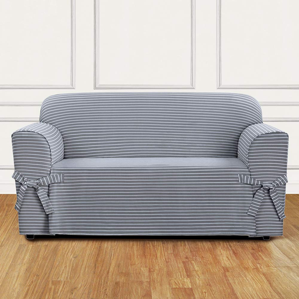 Sure Fit SF46204 Horizontal Club Stripe 100/% Cotton 1 Piece Loveseat Slipcover Limestone Gray