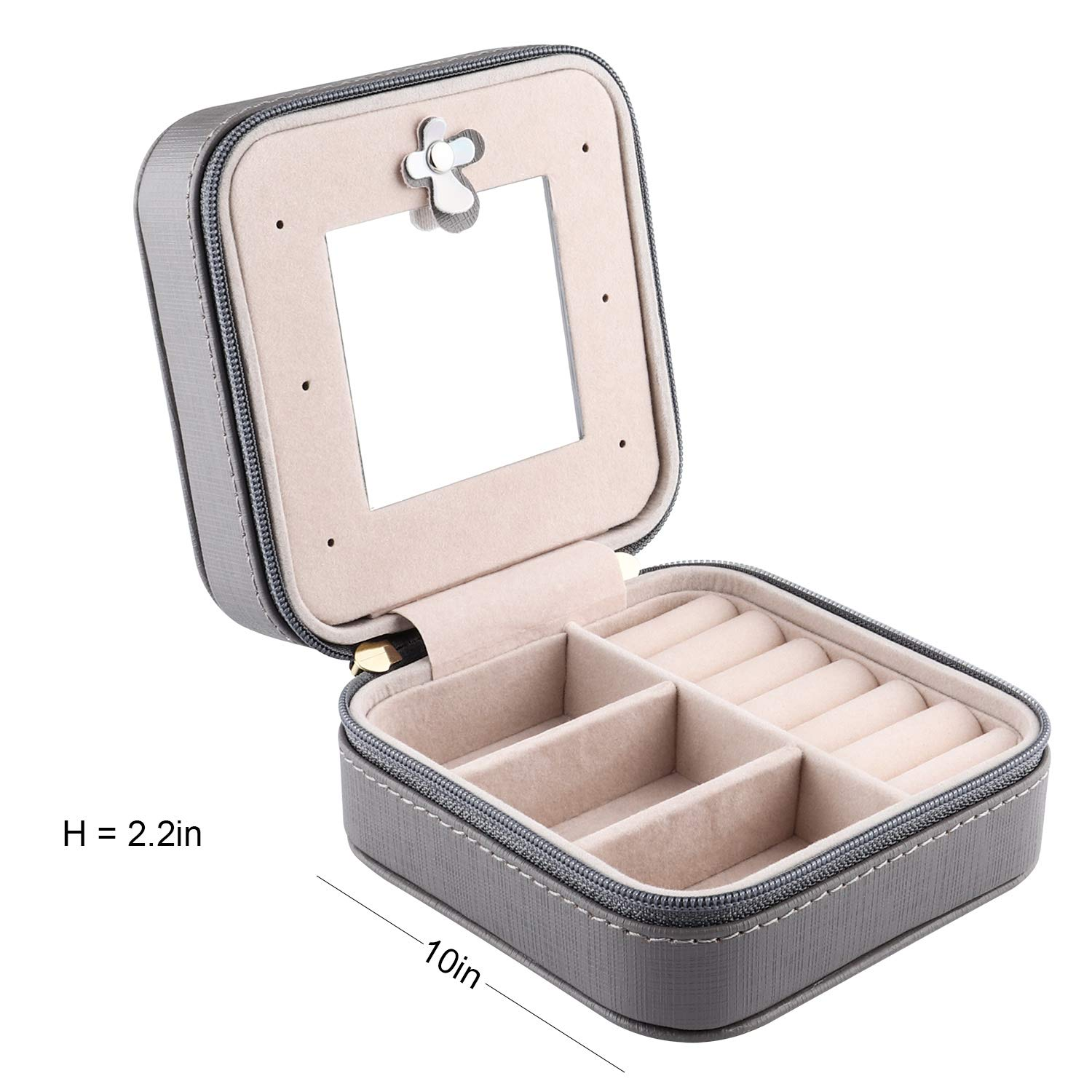 Duomiila Small Jewelry Box Travel Mini Organizer Portable Display Storage Case for Rings Earrings Necklace,Gifts for Girls Women Black