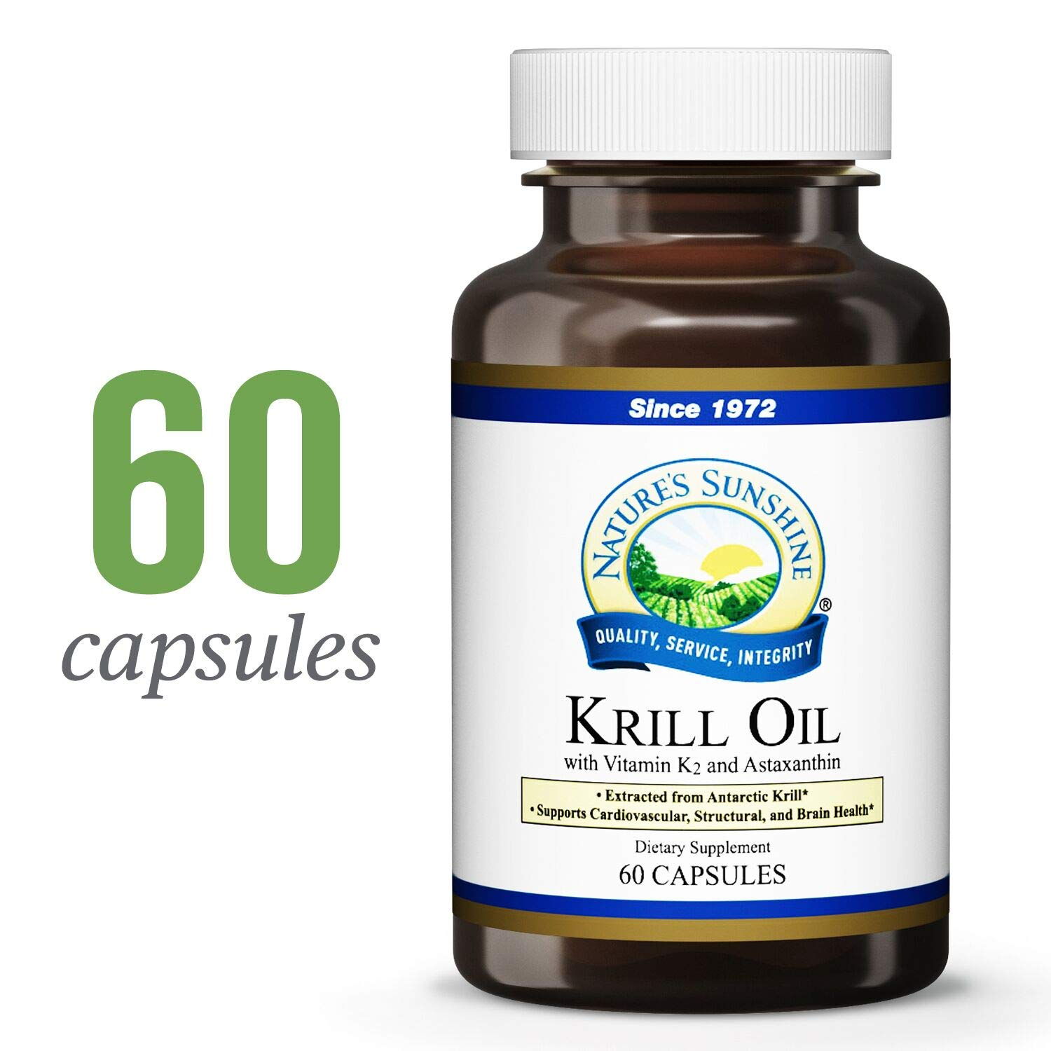 Nature's Sunshine Krill Oil w/K2, 60 Soft Gels | Natural Fish Oil Pills with Vitamin K2 and Highly Bioavailable Krill Oil Extracted from Antarctic Krill