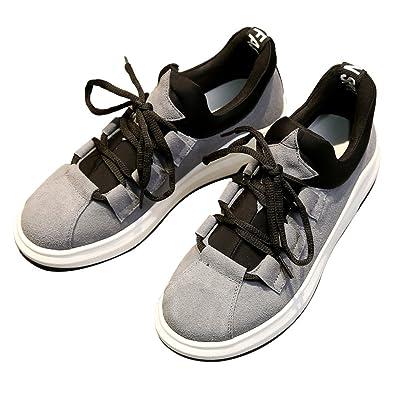 Shenn Damen Plattform Schnüren Laufen Beiläufig Wildleder Leder Sneaker Schuhe 2609X(Schwarz,EU36.5)