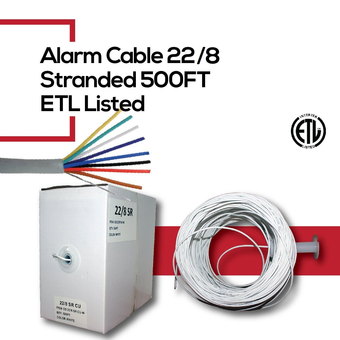 CCTVOnSales Security Burglar Alarm Wire Cable 22/8 22AWG Stranded 500 FT White in-Wall CMR Rated Pull Box ETL Listed (Alarm Cable 22/8)