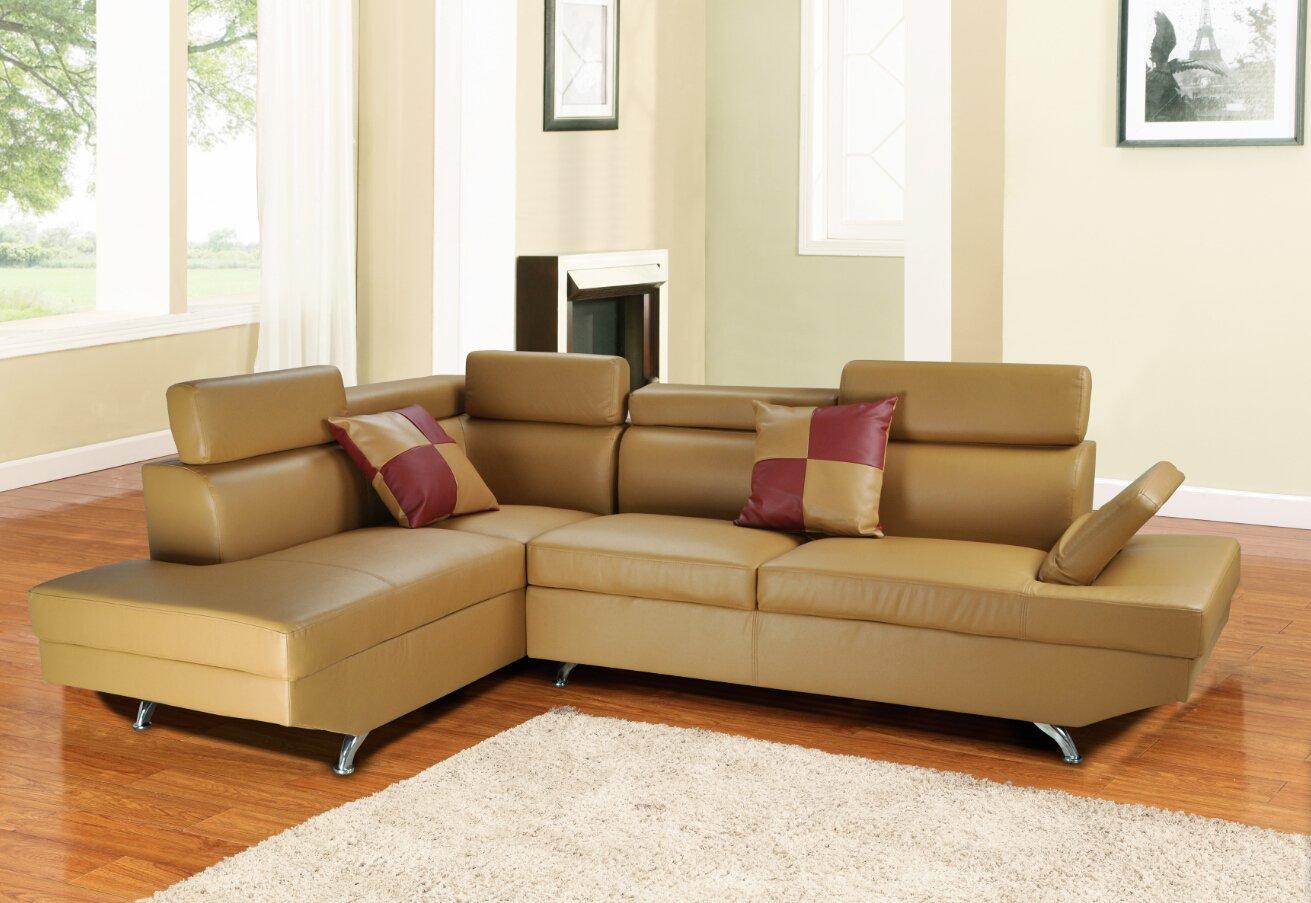 Amazon.com: Lifestyle Furniture Genoa Butterscotch Left Hand Facing  Sectional Sofa: Kitchen U0026 Dining
