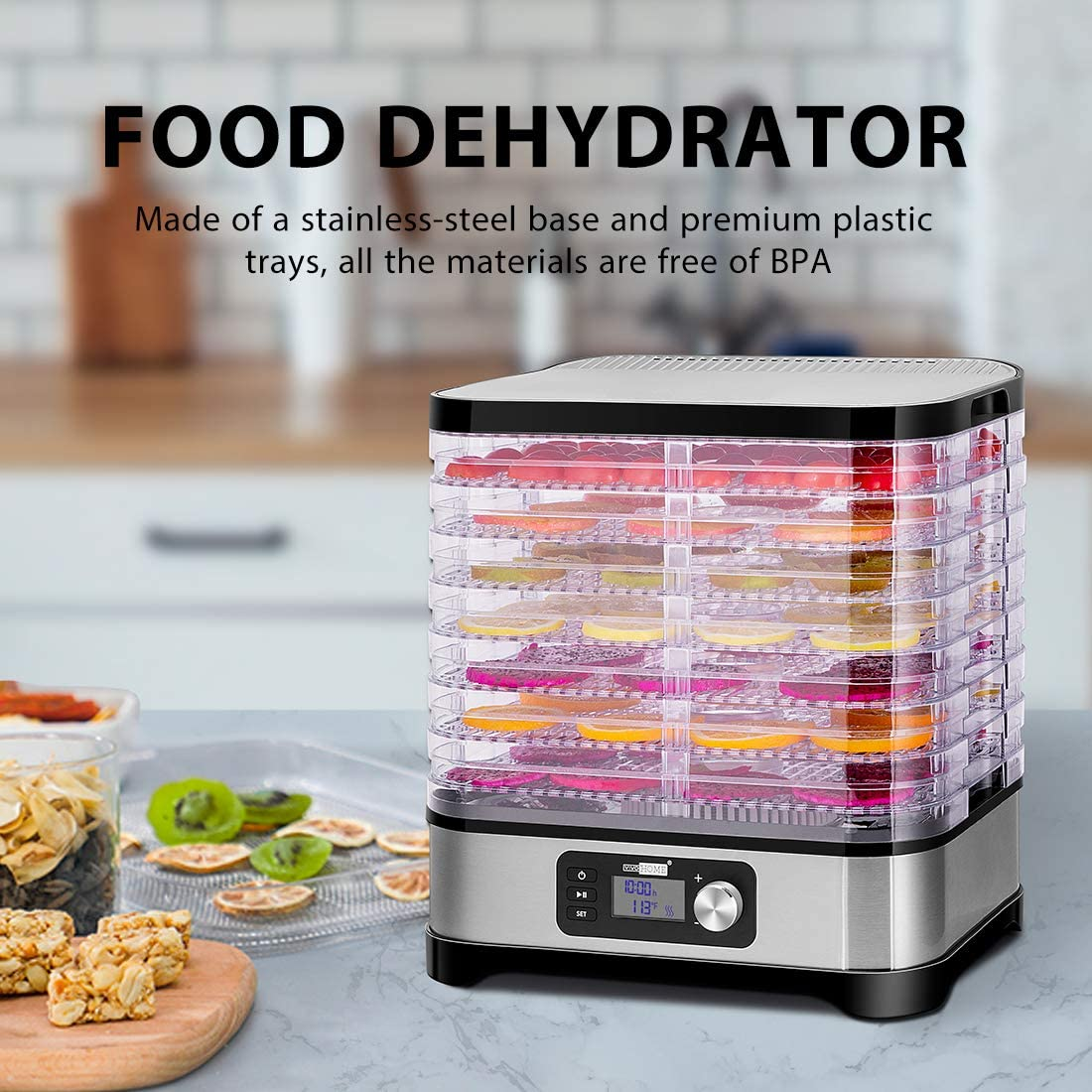 Amazon Com Vivohome Electric 400w 8 Trays Food Dehydrator Machine With Digital Timer And Temperature Control For Fruit Vegetable Meat Beef Jerky Maker Bpa Free Kitchen Dining