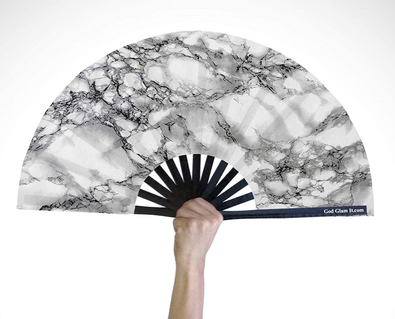 MTO Large Galaxy Night Sky Hand Fan ~ Handheld Fan Wood Fabric ~ Made to Order Prom Fan Paint Fan Spanish Fan Wedding Fan