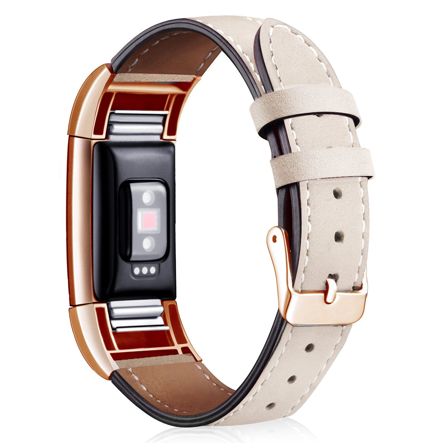 Wearlizer For Fitbit Charge 2 Leather Bands Special Edition Lavender Rose Gold Buckle, Replacement Charge 2 hr Leather Band Straps Accessories Small Large Women