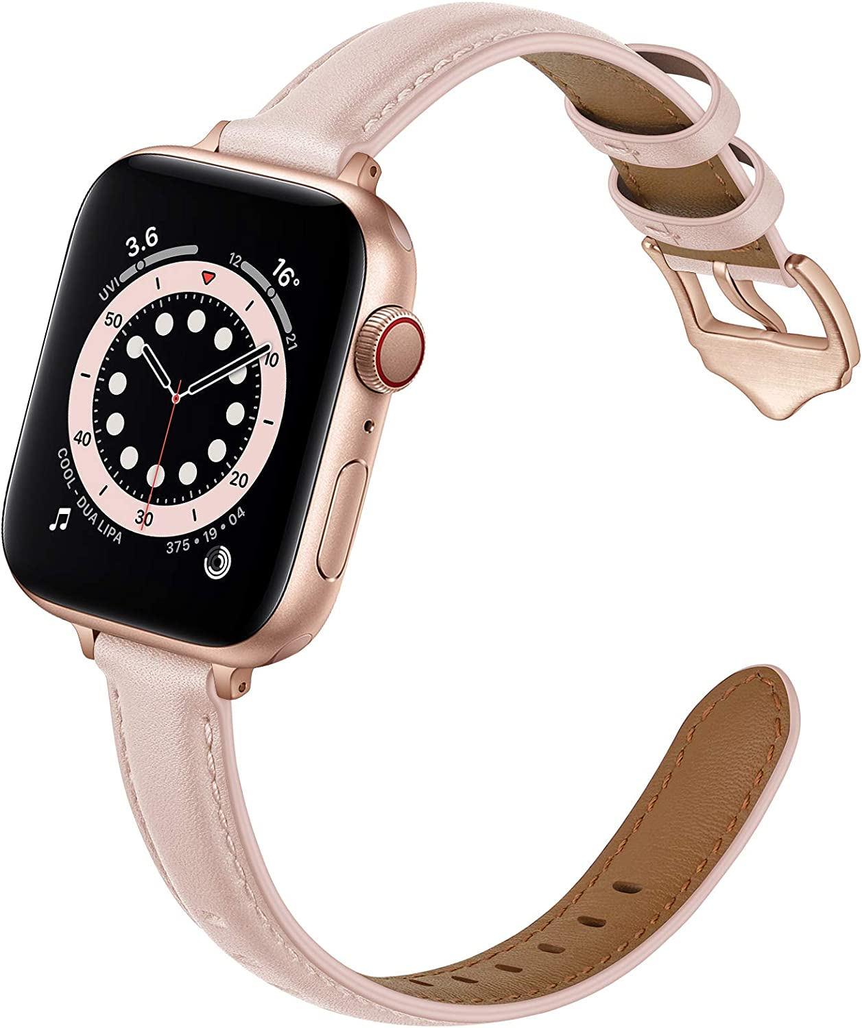 OUHENG Compatible with Apple Watch Bands 40mm 38mm 44mm 42mm, Women Slim Thin Genuine Leather Replacement Strap for iWatch SE Series 6 5 4 3 2 1 (Pink Sand/Rose Gold, 40mm 38mm)