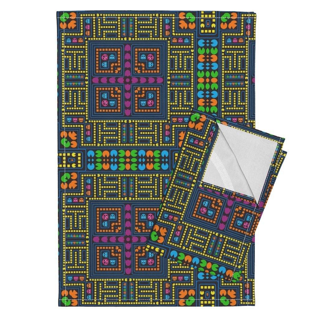 Roostery Game Tea Towels Digital Maze by Kociara Set of 2 Linen Cotton Tea Towels