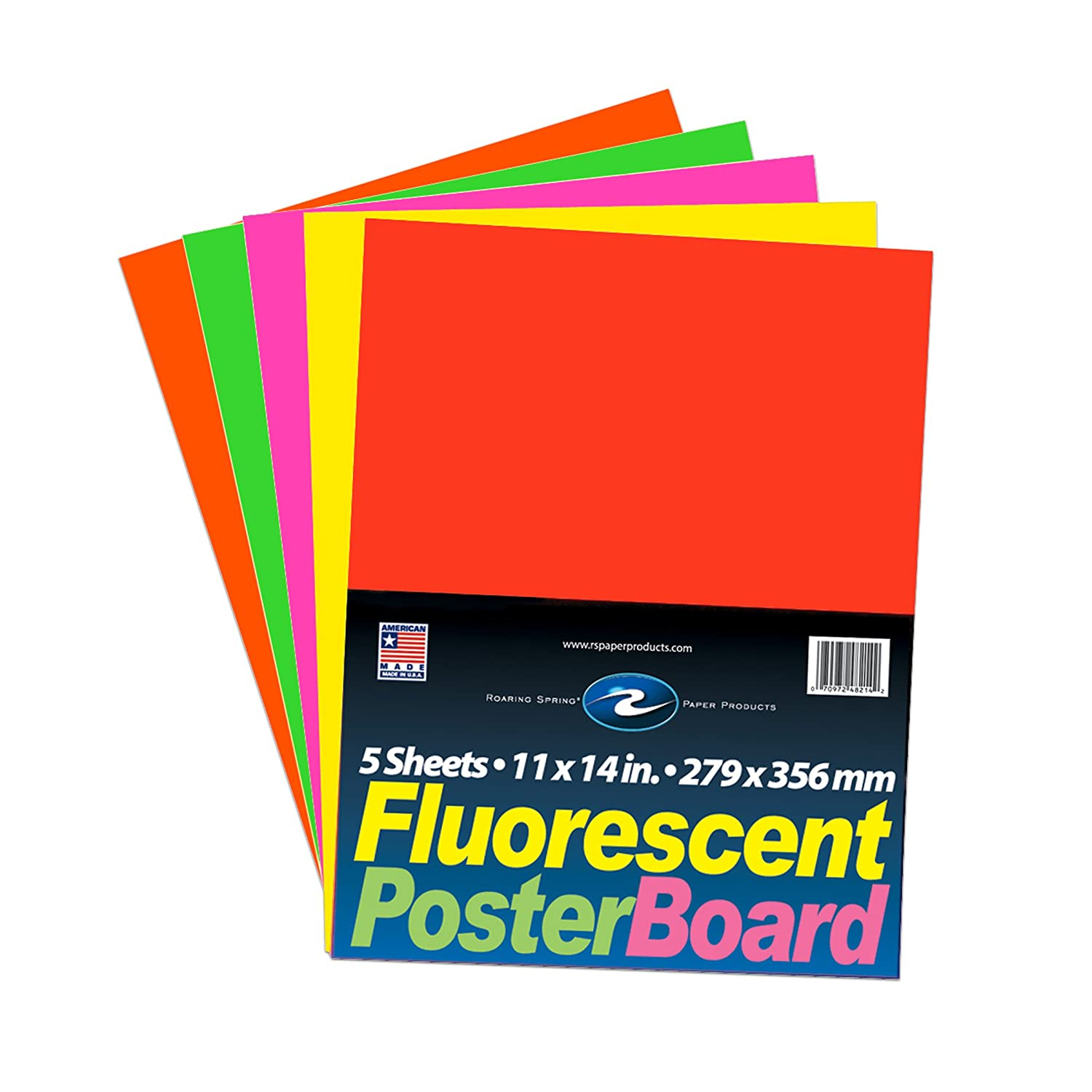 11 x 14 5 sheets per pack Roaring Spring Fluorescent Poster Board