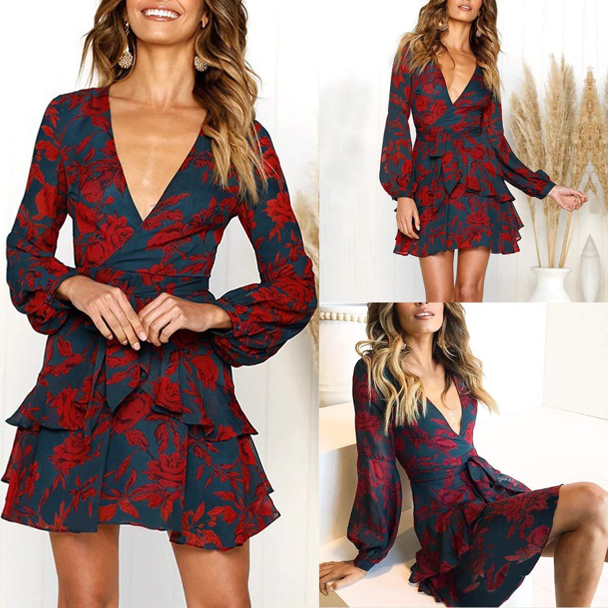 ff17be37e9 Women Casual V Neck Mini Dress Printing Ruffles Dress Long Sleeve Bow  Ruffles Wrap at Amazon Women s Clothing store