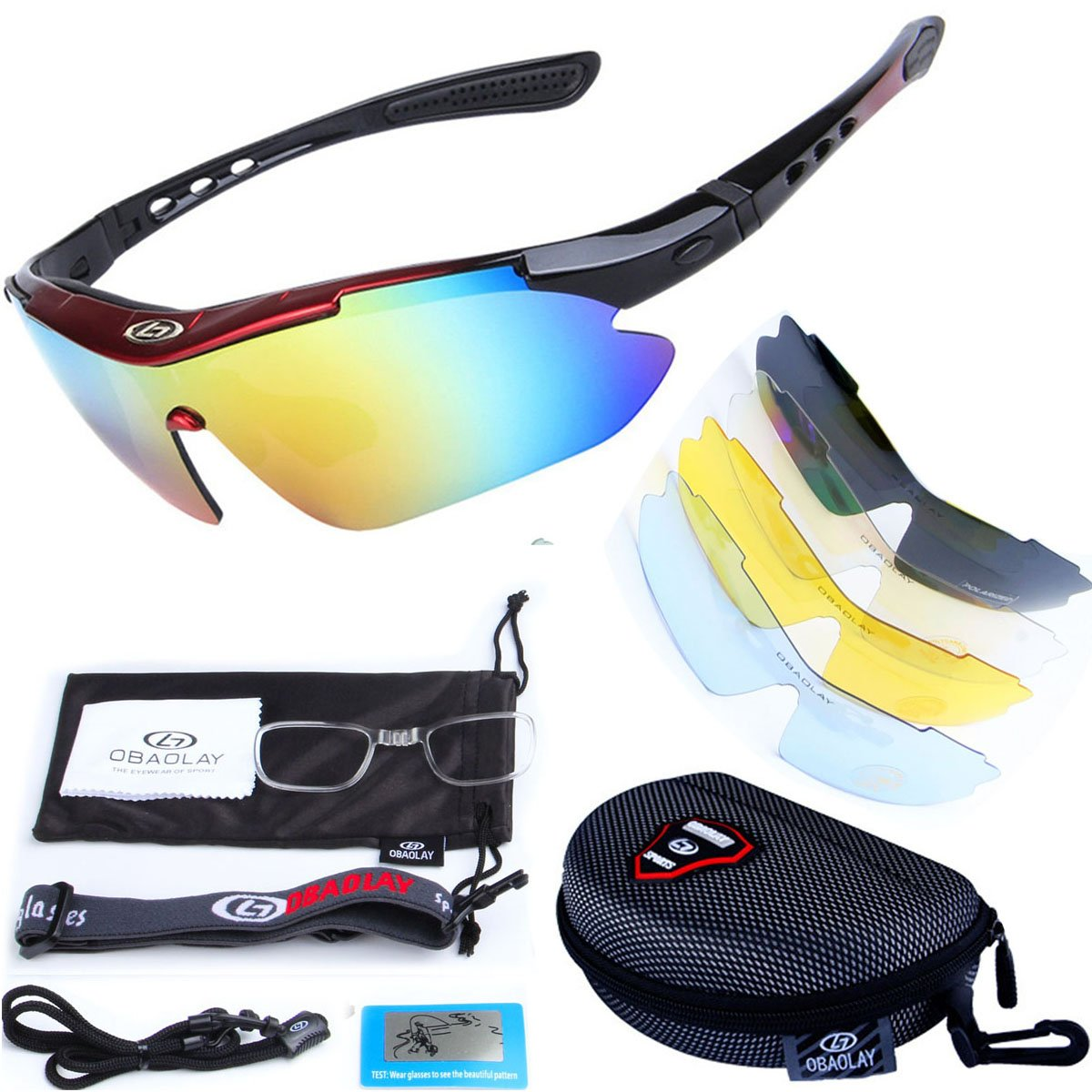 Tutoo Polarized Sports Sunglasses With 5 Interchangeable Lenses for Men Women (red&black)