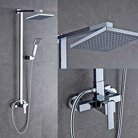 ROVATE Bathroom Rain Mixer Shower Combo Set Wall Mounted Height Adjustable Rainfall  Shower System With 8