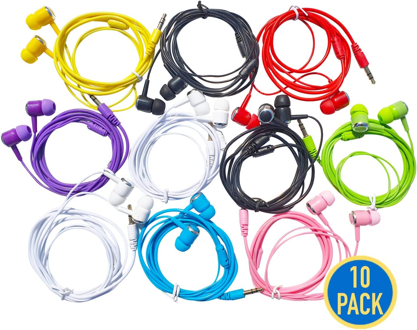 G01 Earbud Headphones Bulk Pack of 10, Basic Corded Earphones Wholesale Accessory for iPhone Smartphone Computer Laptop Chromebook MP3 Player (8 Colors, Pack of 10)