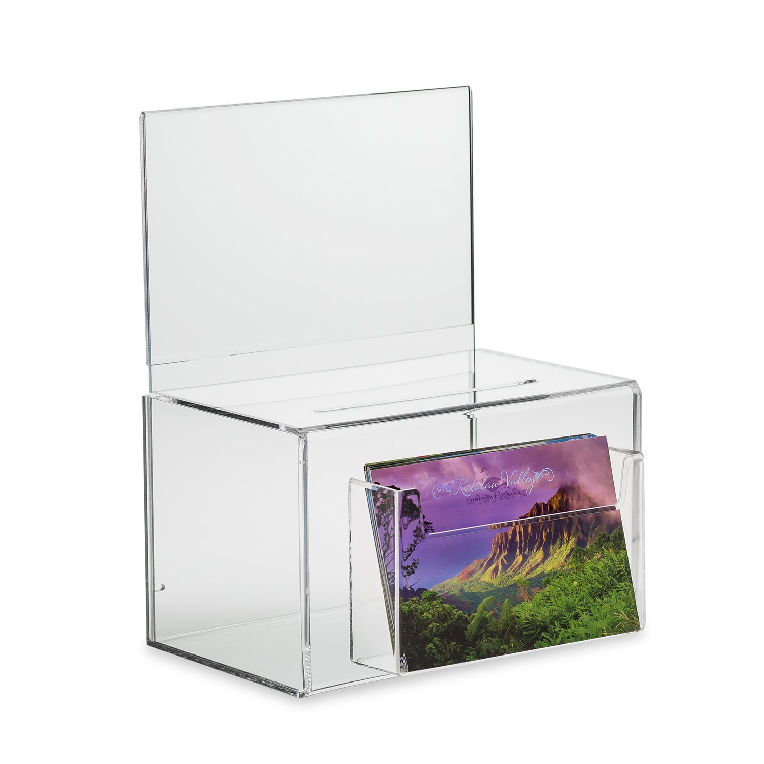 SourceOne Large Oblong Donation Box W/ 8 1/2 x 11 Sign Holder (Clear w/Pocket) by SOURCEONE.ORG