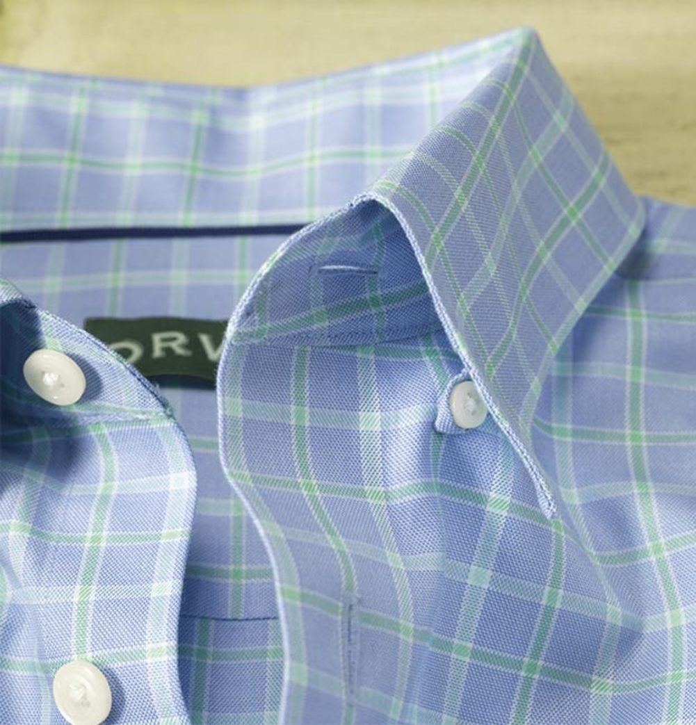 Orvis Hidden-Button-Down Wrinkle-Free Cotton Twill Shirt Large White/Blue