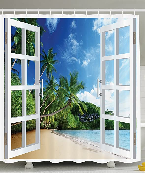 Ambesonne Ocean Shower Curtain Decor by, Palm Trees Tropical Island Beach Nature Paradise Panoramic Picture Through Wooden Windows Scene, Polyester Fabric Shower Curtain, Blue Green Aqua White Beige